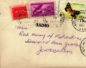 A letter sent from Cuba in 1962 addressed to King of Palestine David Ben Gurion, Jerusalem