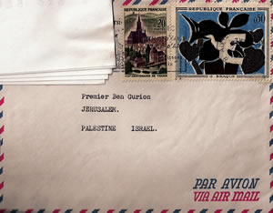 A letter sent from France addressed to Premier Ben Gurion, Jerusalem, Palestine Israel