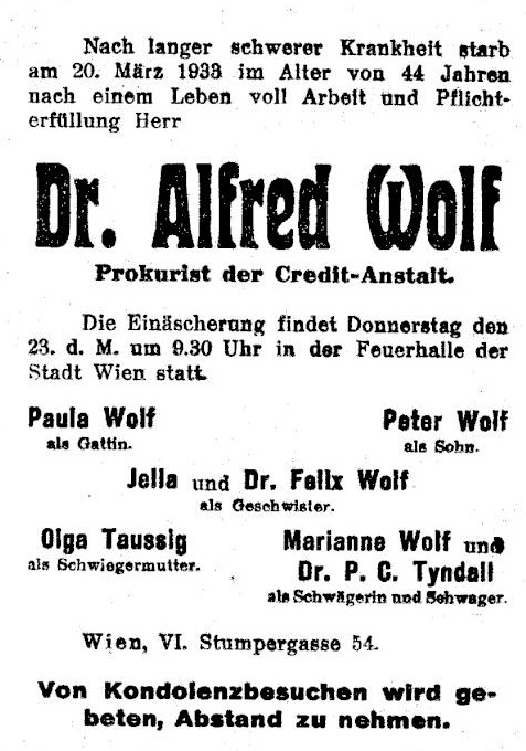Sterbeanzeige Dr. Alfred Wolf
