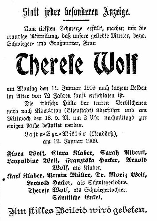 Sterbeanzeige Therese Wolf