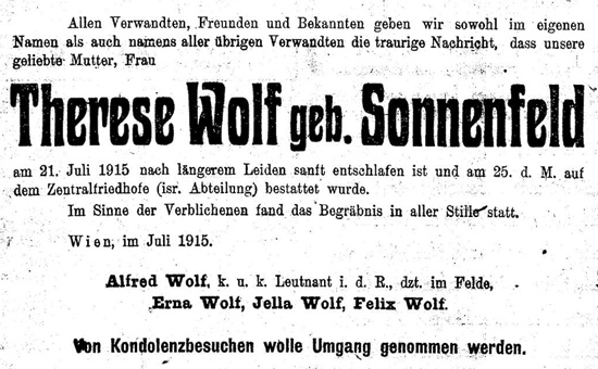 Sterbeanzeige Therese Wolf-Sonnenfeld