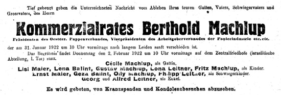 Sterbeanzeige Berthold Machlup, Familie