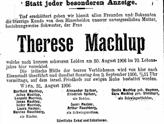 Sterbeanzeige Therese Machlup