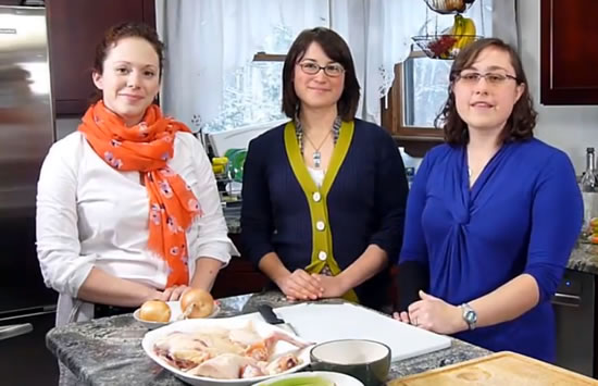 Sara, Rachel and Emily, cooking Matzo Ball Soup from Burgenland