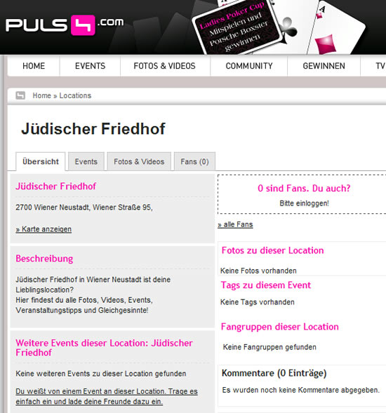 Screenshot Puls4 Jüdischer Friedhof Eventdatenbank