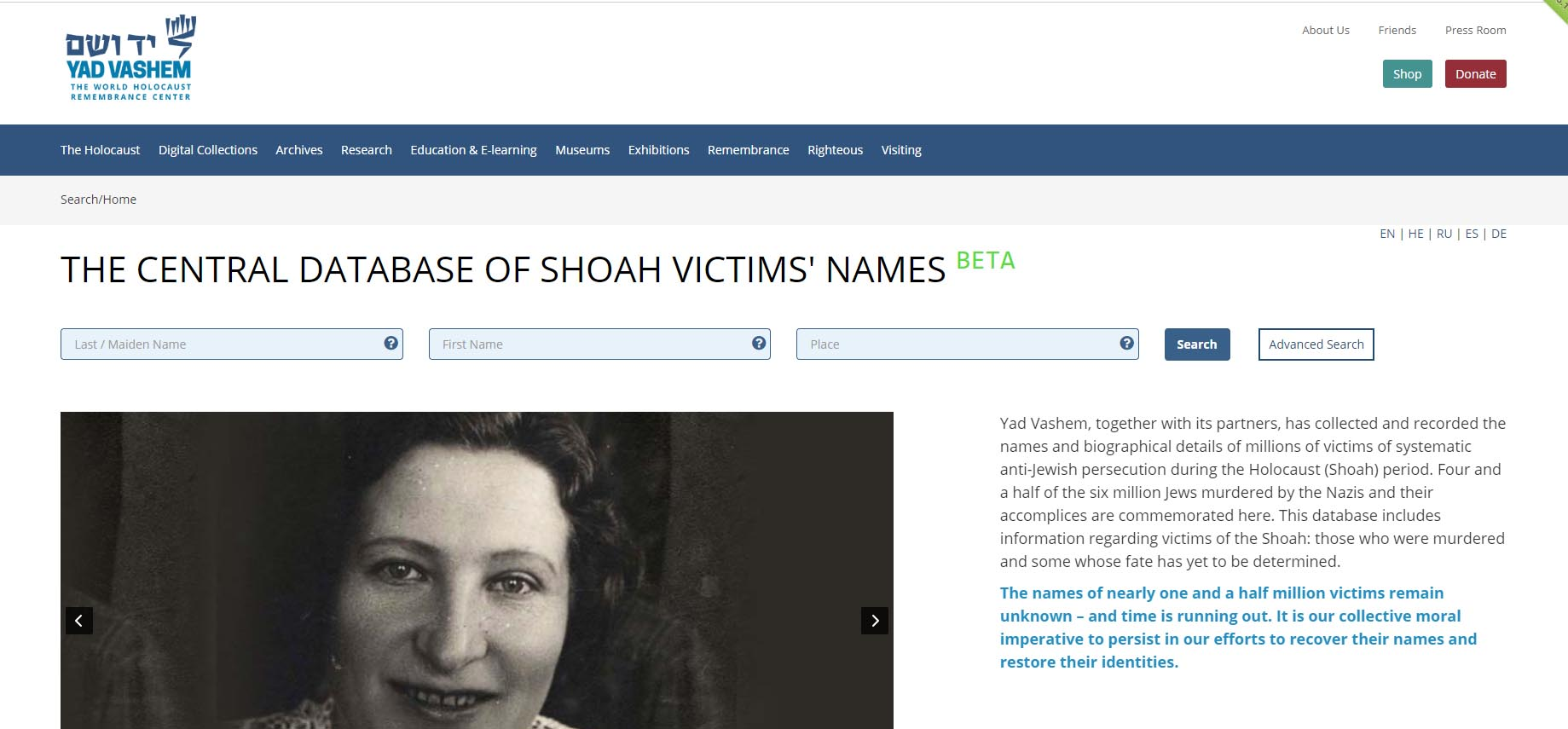Screenshot from Yadvashem-Website