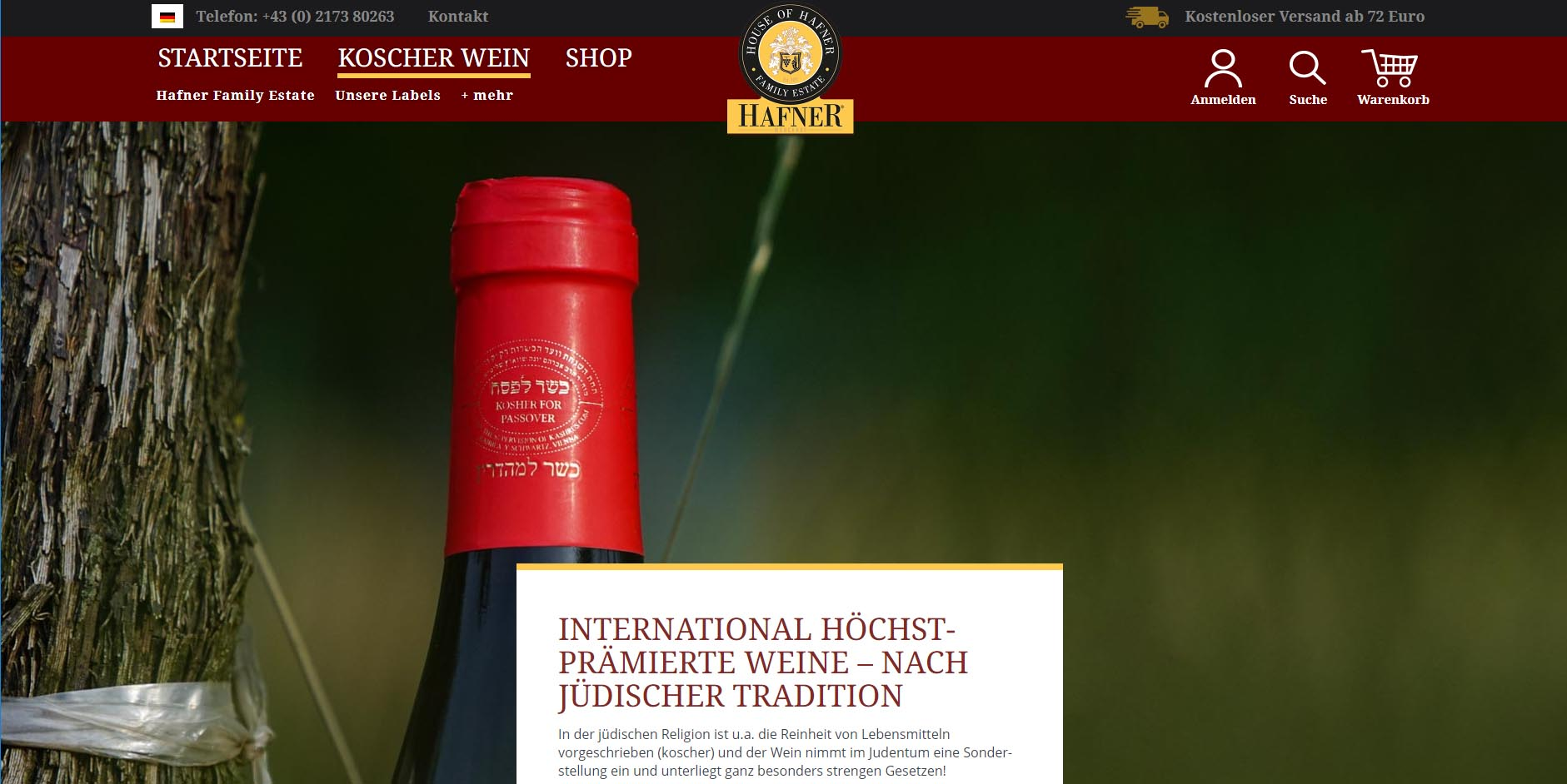 Screenshot Website Hafnerweine