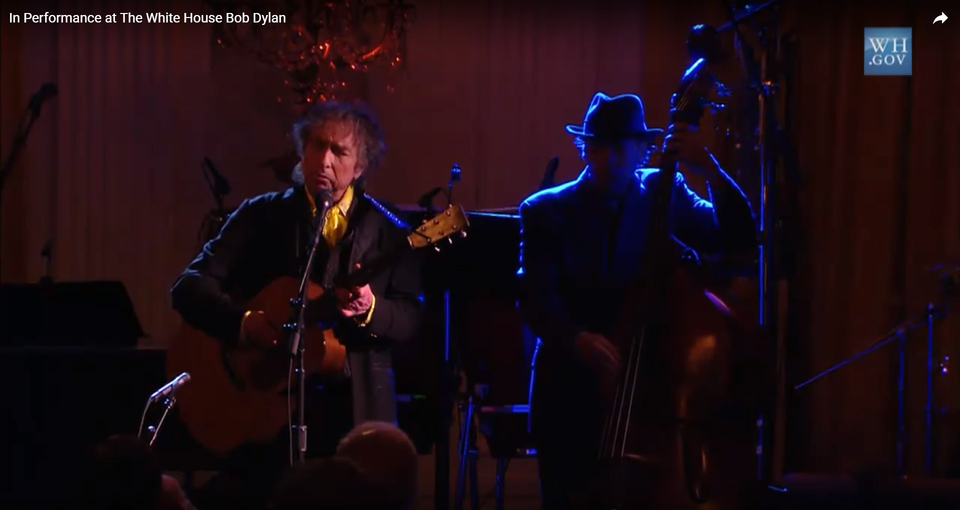 Screenshot Youtube-Video Bob Dylan at the Wihte House