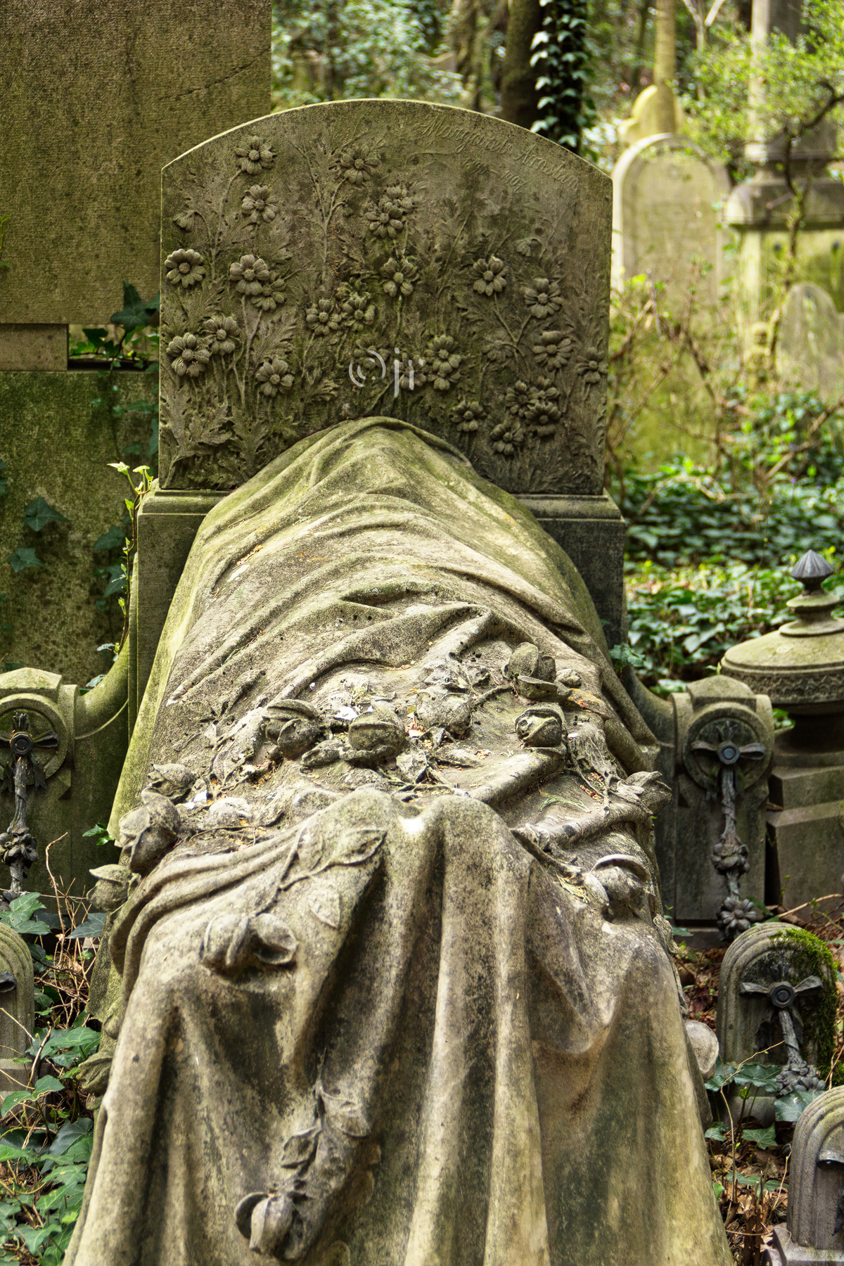 Grabstein Margarete Arnstein, 03. September 1907, jüdischer Friedhof Triest, Foto März 2016