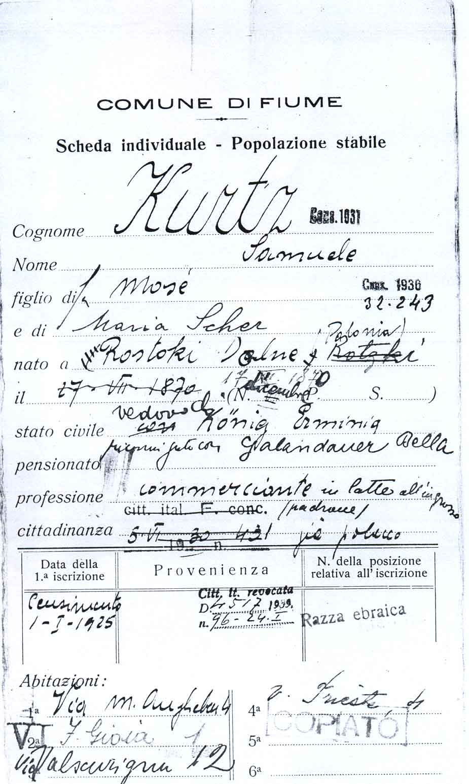 Dokument Samuel Kurtz 1930, Rijeka Civil Office Registers (Dank an Roberto Fiorentino!)