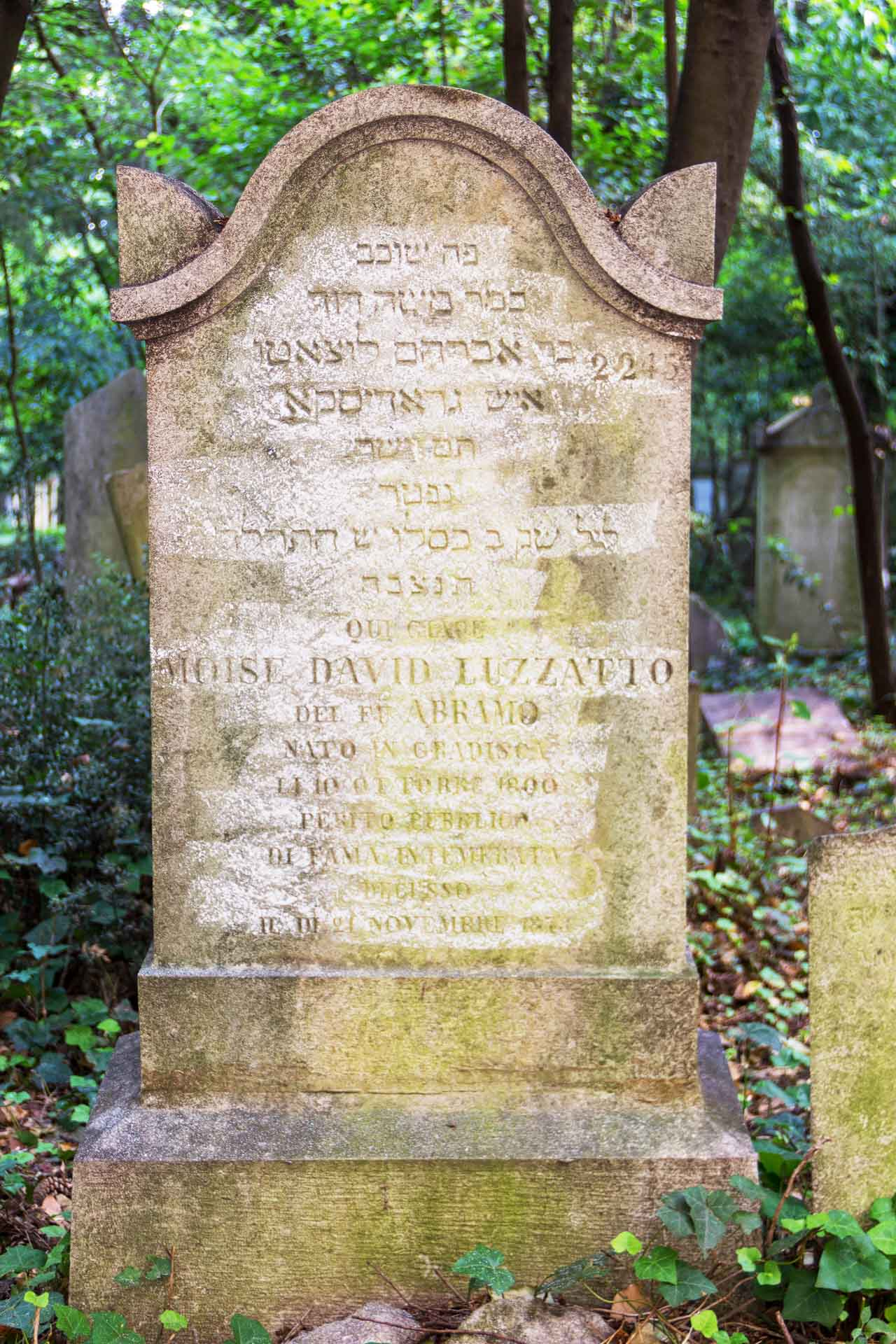 Grabstein Moisè Davide (Mose David) Luzzatto, 21. November 1873