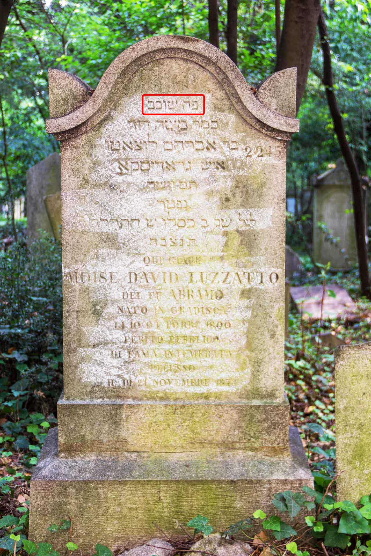 Grabstein / gravestone Moise David Luzzatto, 21/11/1873