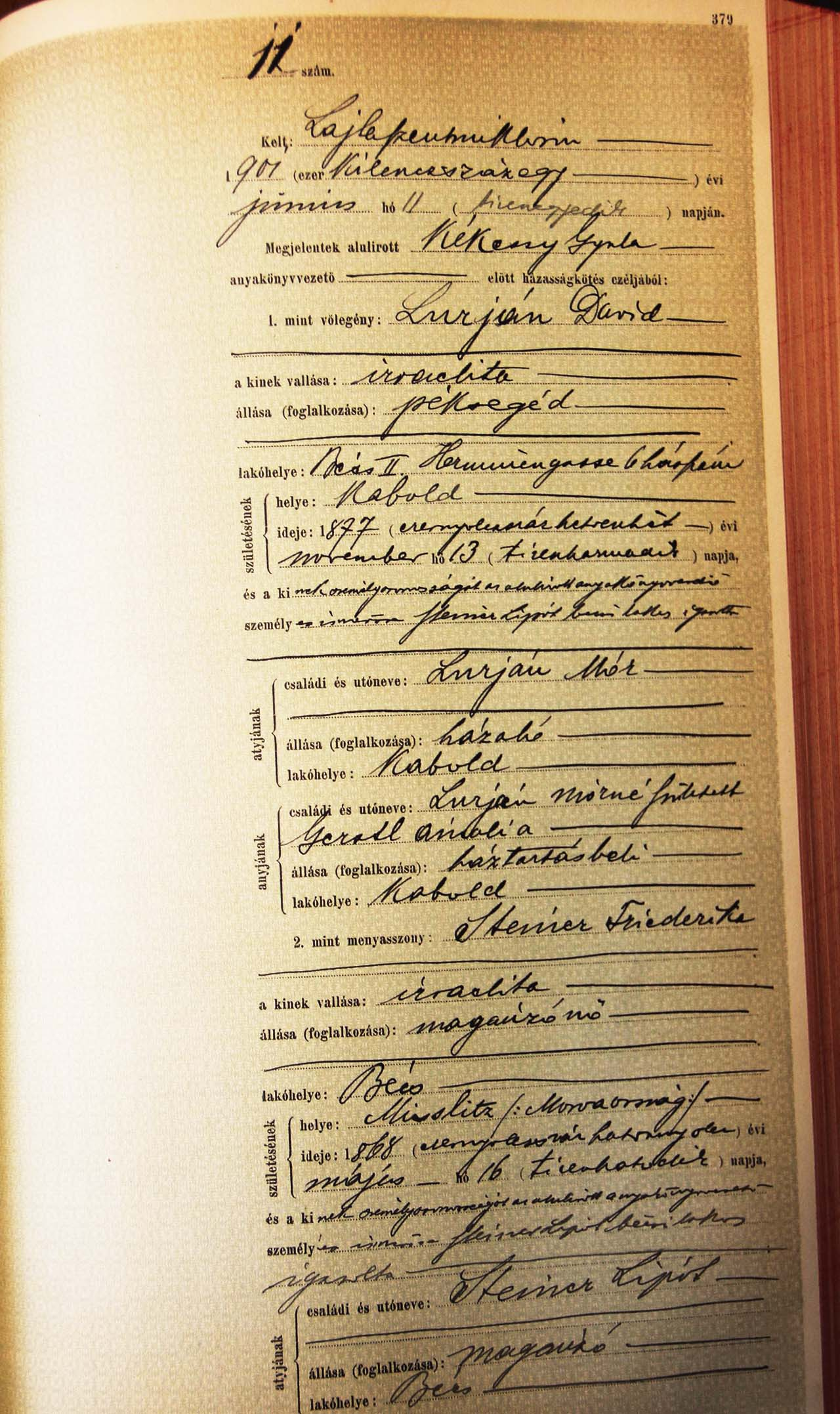 Marriage entry David Lurian and Friederike Steiner, 11 June 1901, Neudörfl