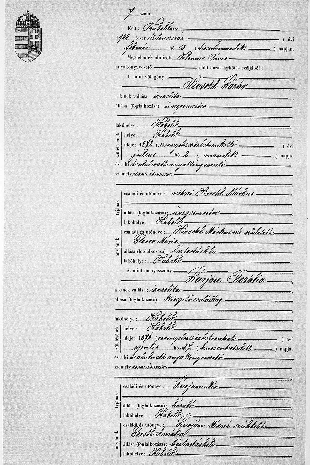 Marriage entry Rosalia Lurjan and Lazar Hirschl, 13 February 1900, Kobersdorf